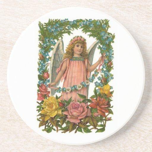 Ángel con las flores posavasos personalizados