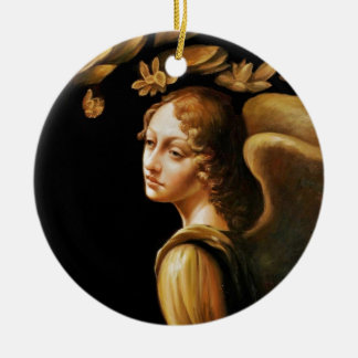 Ángel con las hojas de oro adorno navideño redondo de cerámica