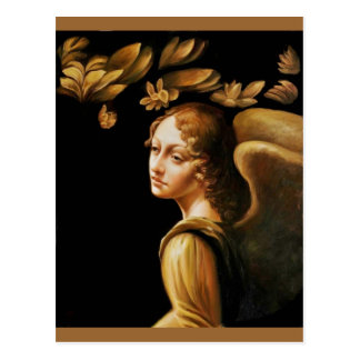Ángel con las hojas de oro postal