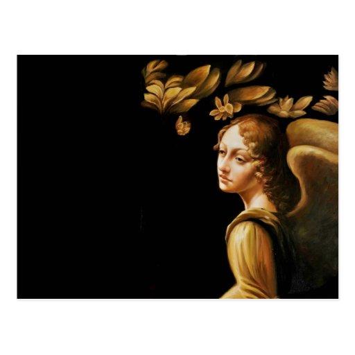 Ángel con las hojas de oro tarjeta postal
