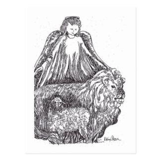 Ángel con las ovejas y el león postales