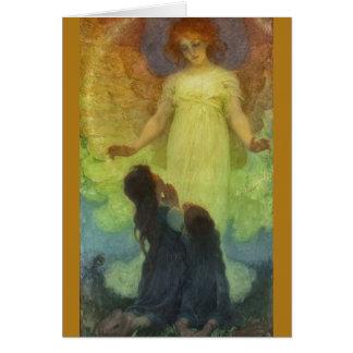 Ángel con los niños tarjeta de felicitación