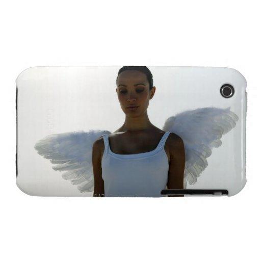 Ángel con los ojos cerrados iPhone 3 cárcasa