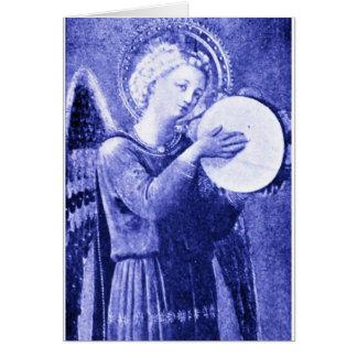 Ángel con pandereta tarjeta de felicitación
