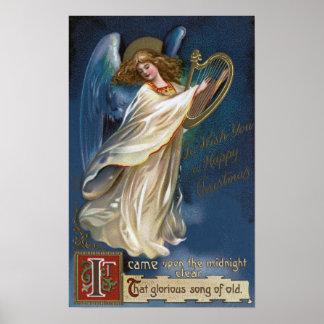 Ángel con una arpa póster