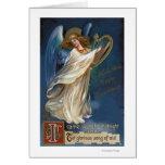 Ángel con una arpa tarjeta de felicitación