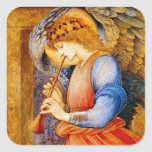 Ángel con una trompeta calcomanía cuadradas personalizadas
