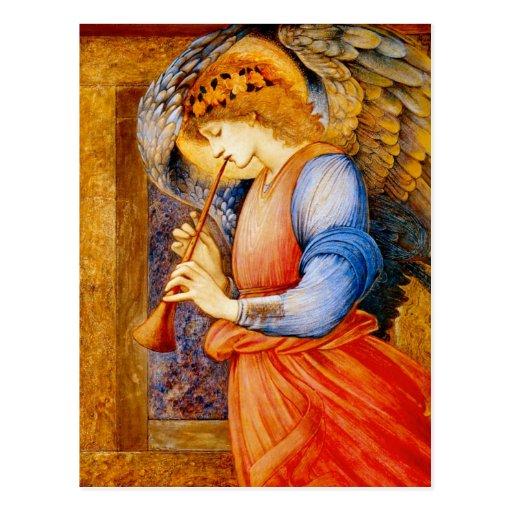 Ángel con una trompeta postales