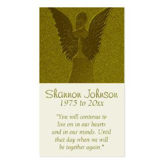 Ángel conmemorativo del oro de la tarjeta el | tarjetas de visita