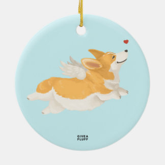 Angel Corg Double-Sided Ceramic Round Christmas Ornament