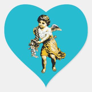 Angel Cornucopia Sketch Heart Sticker