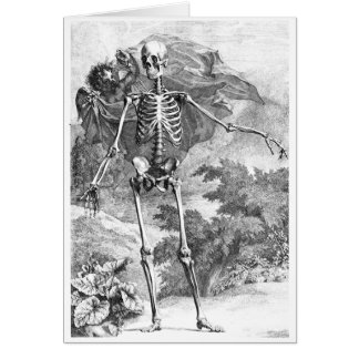 Angel covering a standing skeleton greeting card
