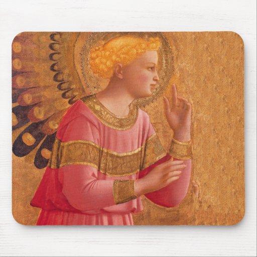 Ángel cristiano de oro rosado del vintage alfombrillas de ratón