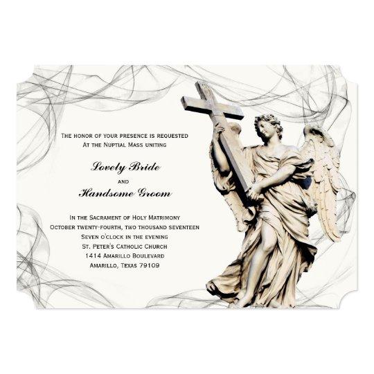 Catholic Wedding Invitations: Angel Cross Catholic Wedding Invitation