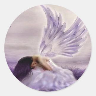 angel crying.jpg classic round sticker