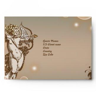 Angel cupid floral antique wedding envelope