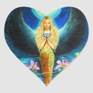 Ángel curativo pegatina en forma de corazón