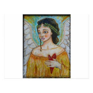 Ángel - custodia de usted cerca de mi corazón tarjeta postal