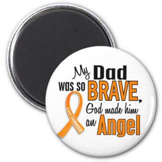 Angel Dad Leukemia 2 Inch Round Magnet