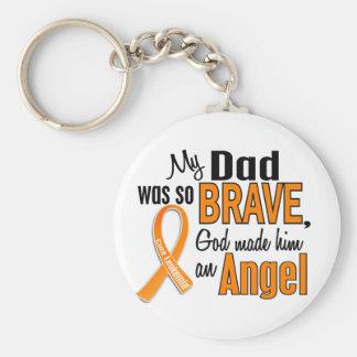 Angel Dad Leukemia Basic Round Button Keychain