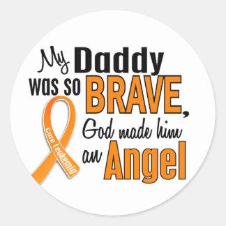 Angel Daddy Leukemia Classic Round Sticker
