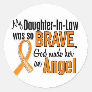Angel Daughter-In-Law Leukemia Classic Round Sticker