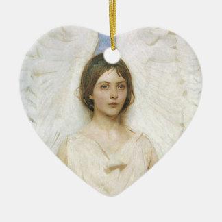 Ángel de Abbott Thayer, bella arte del Victorian Adorno De Cerámica En Forma De Corazón