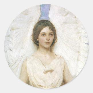 Ángel de Abbott Thayer, bella arte del Victorian Pegatina Redonda