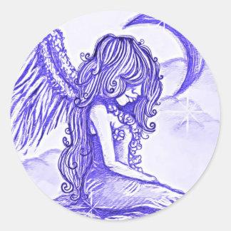 Ángel de Bljue del pegatina de la luna