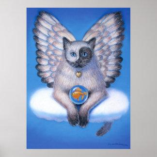 Ángel de Buda del zen del gato de Yin Yang del pos Póster