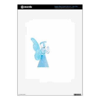 Ángel de cristal azul que ruega en el fondo blanco iPad 3 pegatina skin