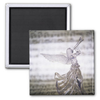 Ángel de cristal que juega la trompeta y la imagen imanes para frigoríficos