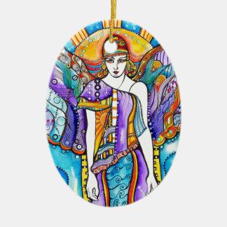 Ángel de guarda adorno ovalado de cerámica