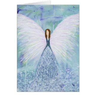 Ángel de guarda azul tarjeta de felicitación