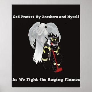 Ángel de guarda con el bombero póster