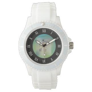 Ángel de guarda con la frontera verde relojes de pulsera