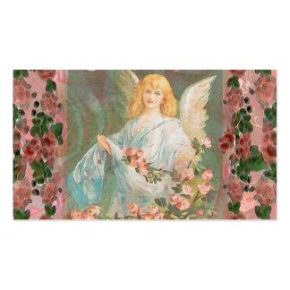 Ángel de guarda con los rosas rosados tarjetas de visita