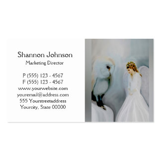 Ángel de guarda del cuidado y búho blanco tarjetas de visita