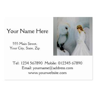 Ángel de guarda del cuidado y búho blanco tarjetas de visita grandes