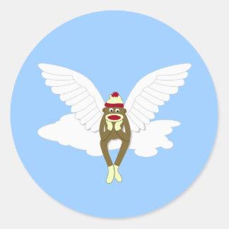 Ángel de guarda del mono del calcetín pegatina redonda