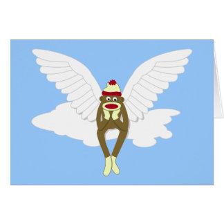 Ángel de guarda del mono del calcetín tarjetas