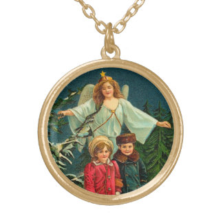 Ángel de guarda del navidad del vintage collar dorado