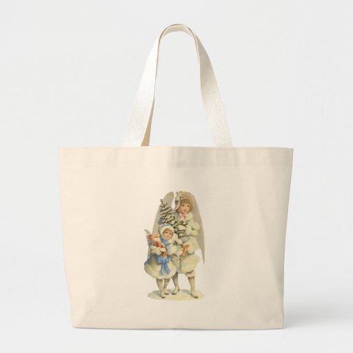 Ángel de guarda del vintage con el árbol y la niña bolsas