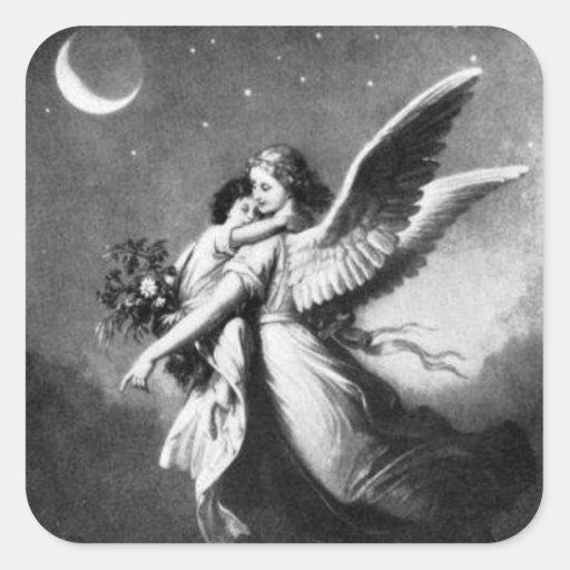 Ángel de guarda en la noche calcomania cuadradas personalizadas