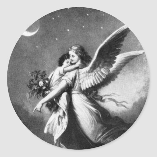 Ángel de guarda en la noche pegatinas redondas