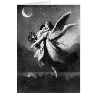 Ángel de guarda en la noche tarjeta de felicitación