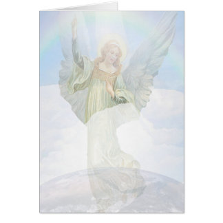 Ángel de guarda en las nubes tarjeta de felicitación