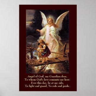 Ángel de guarda, niños, puente póster