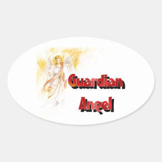 Ángel de guarda calcomania óval