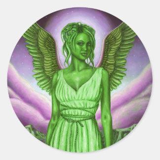 Ángel de guarda verde: Pegatina redondo clásico